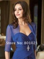 Free Shipping Royal Blue Chiffon Long Sleeve Custom Made Ladies Women Girl Wedding Jacket Wrap
