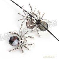 36pcs/lot ,Rhodium Rhinestone Spider Charms Zinc Alloy Pendants Accessories Jewelry Findings 25*25*7mm 140666