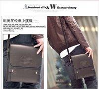 fashion men leather messenger bag, Brown color men's shoulder bags 2013, high quality brand design business bag