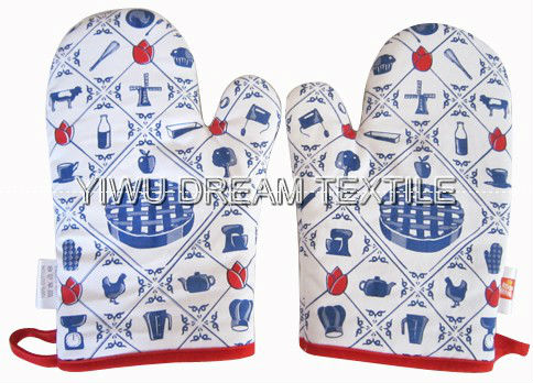 promotional high quality printed cotton oven glove,oven glove