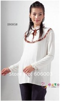 Верхняя одежда для беременных 2011 autumn winter pure cotton coat long sleeve blouse pregnant women render unlined upper garment