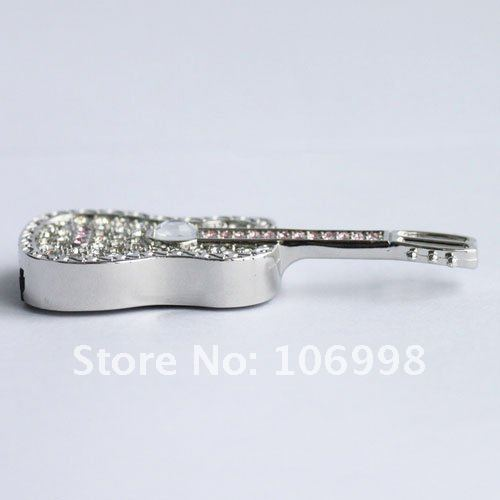 8GB USB 2.0 Flash Drive Stick Swarovski Guitar Guaranteed Full Capacity 8G U Disk Jewelry Memory Pen Drive Card Key New