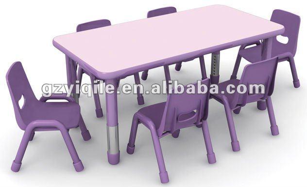 de plástico de diseño de muebles para niños ajustable de mesa y una