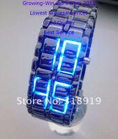Наручные часы 30pcs/lot LED Electronic Digital Watch Lava Style Iron Samurai Metal LED watch Japan Inspired Red/Blue LED Watch