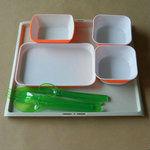 1/2 Size khaki rectangular plastic food tray