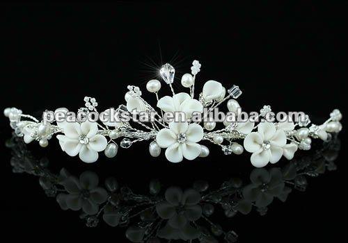 Hecho a mano de perlas de marfil flores cristal tiara nupcial wedding CT1428
