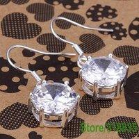 NLE045 Free Shipping 925 Sterling silver white pendant glisten jewelry silver earrings wholesale fashion jewelry etbank jawbra
