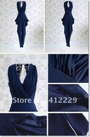 Free shipping pleated sleeveless vest v/neck high waist ladies print haren Jumpsuits & Rompers 2012 new fashion