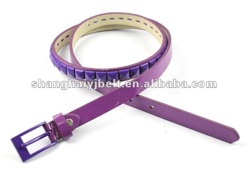 colorful beaded PU pyramid acrylic belt YJ3633