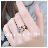 Кольцо italina Multicolor SWA ELEMENTS Austrian Crystal 18K Gold Plated Ring Jewelry