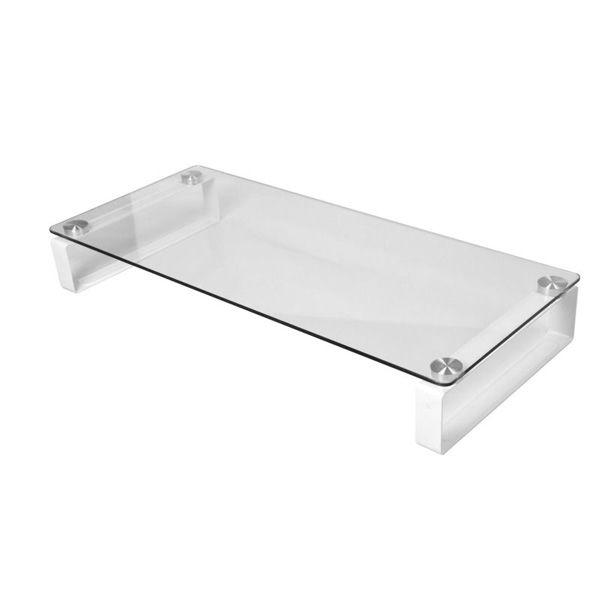 Crystal Desktop Perspex Laptop Computer Stand Standing Desk Glass