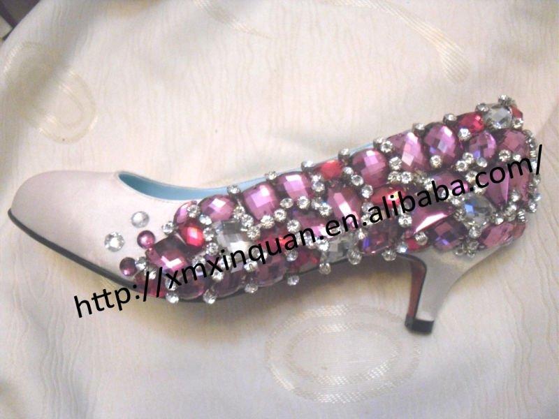 WS087 stylish low heel purple crystal women 39s bridal wedding rhinestone