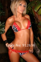 Женское бикини two pieces Lace Ruffled Trimmed Striped Bikini Sexy Swimsuit swimwear And Retail 3047