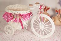 Искусственные цветы для дома 2pcs/lot, Rustic aesthetic rattan cloth big bicycle fabric basket rattan flower beautiful small floats