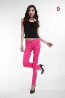 High quality New Women Sexy Candy flexible and stretch Leggings Colors cotton Pencil Pants Jean sHigh elasticity jeans