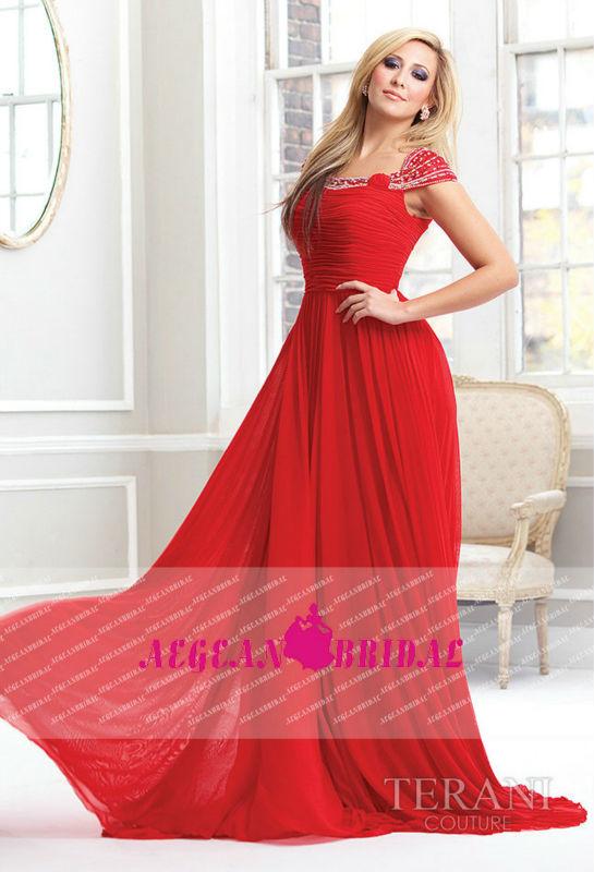 Uzun dantelli boncuklu kap kollu kırmızı şifon uzun elbiseler