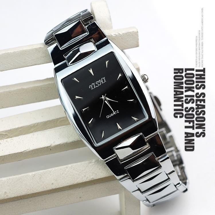 חם מכירת אופנה קלאסי מרובע גברים מלא פלדה לצפות כיתה עליונה גברים קוורץ שעונים משלוח חינם