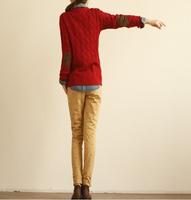 Женский пуловер 2013 autumn and winter women's retro twist patch sweater
