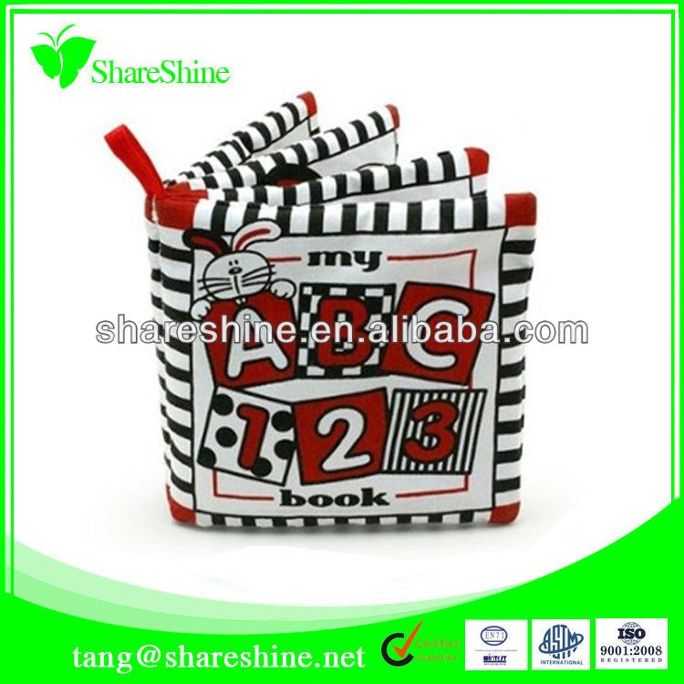Educational toy plush cartoon cloth book with zebra-stripe shape