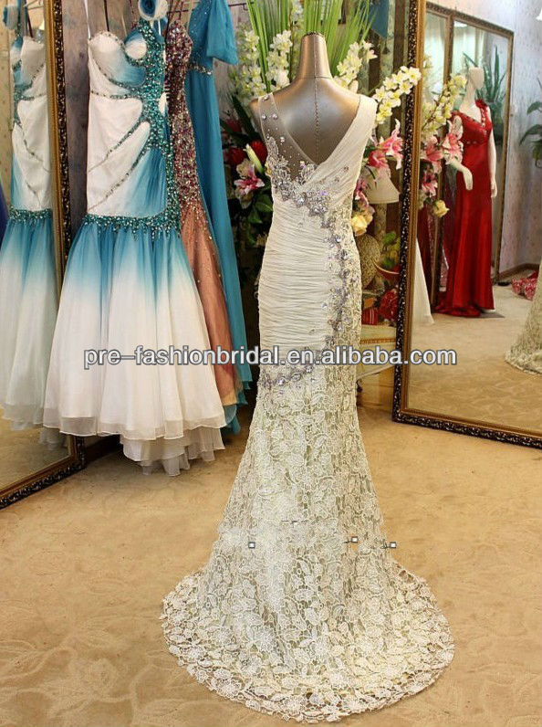 Real Sample Picture Cap Sleeve Sheath Sequins Print Mermaid Evening Gowns