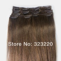 "15"" 20"" 22"" Women's Human Hair Remy Straight Clips In Extensions 7Pcs 70g Medium Brown #6"