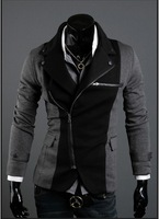 Мужская ветровка Men's Blazer leisure fashion Cool Slim Sexy Casual Blazer Suit Top Zip Dress Jacket black /grey M-XXL 700X08