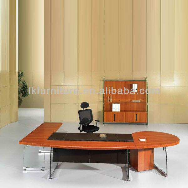 عالية الجودة مكتب زجاج في النهاية القشرة الخشبية