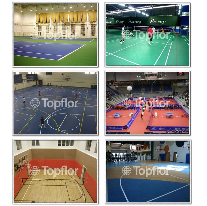 Wood Looking Indoor Basketball Plastic Flooring For School