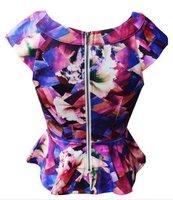 Free shipping .Fashion major suit color geometry flounces slim tops Vest  print tops notu226