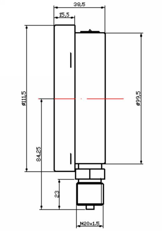 ( y-- 100) 100mm وفراغ مقياس الضغط مع اتصال النحاس القاع