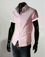 Fashion Mens solid color Slim Stylish Casual Short Sleeve Dress Shirts US XS-L Blue/Pink/Grey/Black/White 1105