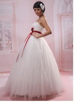 29 Free shipping 2013 newest women fashion sexy bow simple strapless satin material floor length wedding dresses