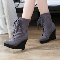 Multi-way New Style Wedges Faux suede ladies Pump Platforms Ankle Boots Winter boots Fashion Lovely shoes Free shipping LLY-K62