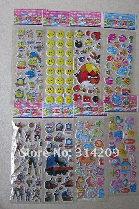 New Arriving! Wholeshale Lot of 100 Sheets Set-C-Mixed Kids Cute Stickers/ Children Puffy Decoration Stickers/Kids DIY Toy
