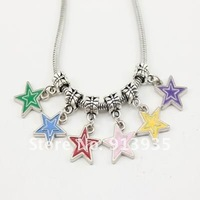 Free Shipping-Wholesale 2012 Hot Style Charms 50Mix Color/Lot Fashion DIY Alloy Dangle Beads Fit  Bracelet Enamel Stars MB015