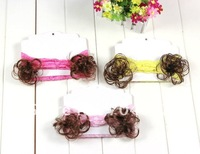 Детский аксессуар для волос Babay Lace Flower Headband with cute Wig 30pcs/lot KLS002