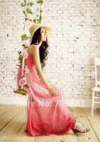 Free shipping Bohemian chiffon Dress /beach dress chest wrapped skirt + gift