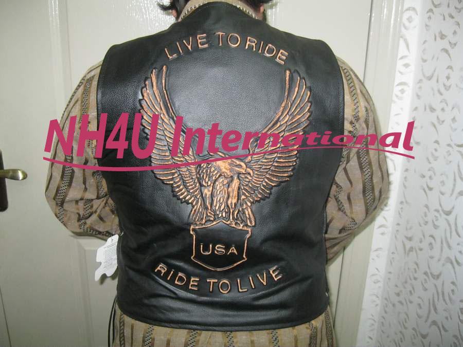 Cow Hide leather motorcycle jacket,motorbike leather jacket,Motorrad Jacke Echt Leder schwarz/silber