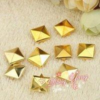 500шт/lot, стад металлические пирамиды 12 мм золото spot панк-рок nailheads обувь шипами кожа ремесло