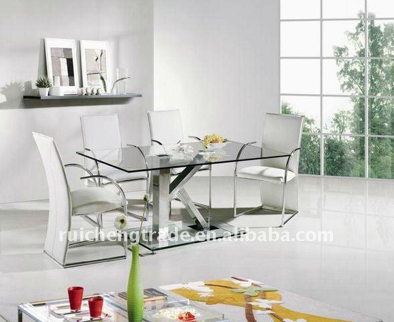 Elegante y moderno de cristal mesa de comedor muebles de comedor ...