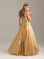 Free Shipping Adorable Sweetheart Neckline Paillette Yellow Organza Satin Floor Length Prom Gown In Stock