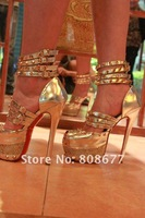 Женские сандалии 2012 Fashion Ladies High Heels Platform Pumps Shoes Red Bottom, 16cm Round Toe Rivets Sexy Women's Summer Boots