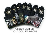 Fashion Halloween jacket!Unisex Black Cotton fleece 3D Skull pattern hooded sweater Full face mask hoodie Free shipping(12026)