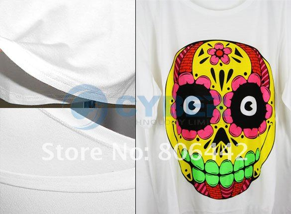 Japan Women's Cartoon Colorful Flower Skull Casual Loose Tops Tee Shirts T-Shirt Free Shipping