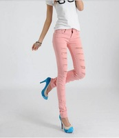 Женские джинсы 2012, new women fashion beggars candy colored pencil hole feet pants. woman jeans