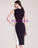 2013 new Collar sleeveless White + dark blue stitching summer women dress fashion dresses