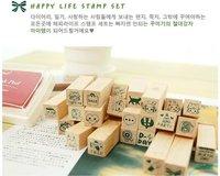 Печать NEW cute schoolbook stamp / with wooden box / 25 pcs/set