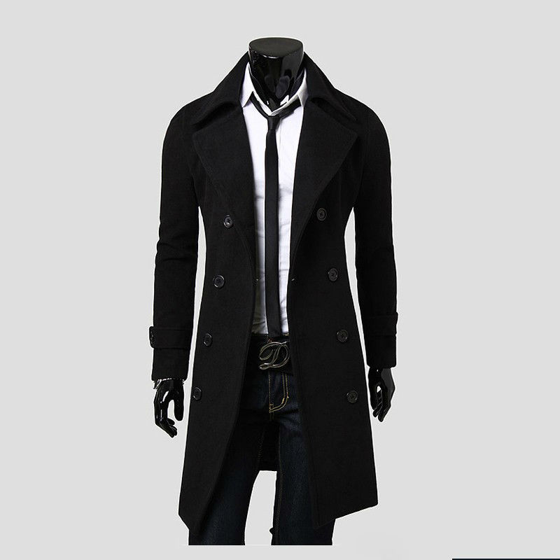 Mens Stylish High Quality And Korean Version Of Double-breasted Coat Woolen Outcoat Fashion Coat 5625