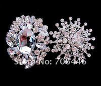 Брошь 2 Pcs Silver Tone Large Rhinestone Crystal Bridal Brooch