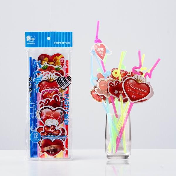 Соломинка для питья 60pcs Disposable Novelty Love Heart Drinking Straws Birthday Wedding Party Use Bar Accessories